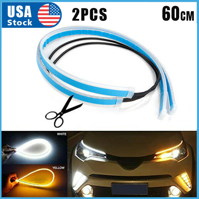 2 x 60CM LED DRL Light Amber Sequential Flexible Turn Signal Strip for Headlight Car & Truck Parts