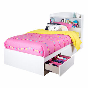 Twin Mates bedframe with drawers and headboard shelving
