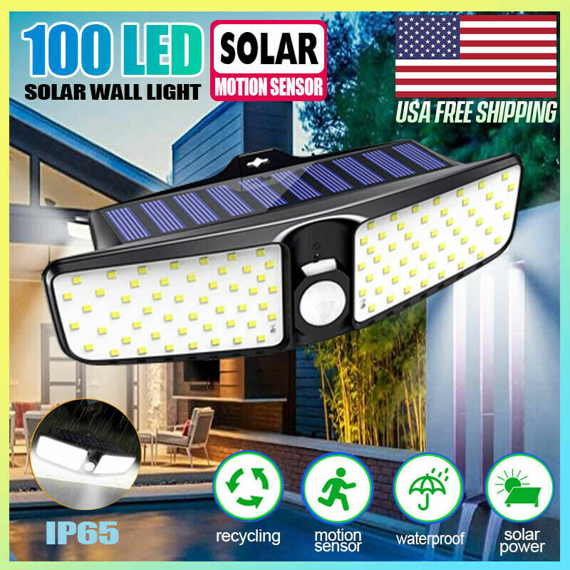 Solar Flood Light Dual Security Detector Motion Sensor Outdoor LED Wall Light Home & Garden