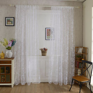 """Sheer white and brown curtains 100x200cm 40x79"""" 4 panels each"""