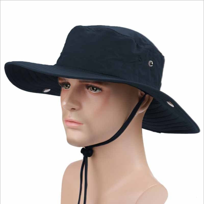 e1290c58b85 Details about Outdoor Fishing Sun Hat UV Protection Hiking Hunting Cap Wide  Brim Men Women