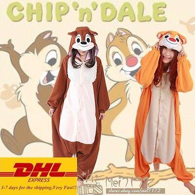 Adult Jumpsuit Kigurumi Pyjamas Cute Chip 'n' Dale Cosplay Sleepwear Funny Dress](Funny Pajamas Adults)