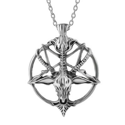 Stainless Steel Inverted Pentagram Necklace upside down star pentacle Goat Head