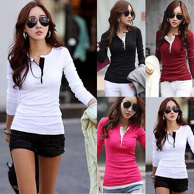 Us Stock Women Ladies Summer Autumn Cotton Long Sleeve Casual Shirt Tops Blouse