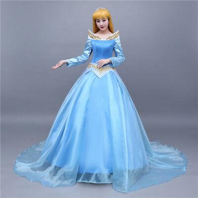 Disney Dornröschen Kostüme (Dornröschen Sleeping Beauty Aurora Blau Blue Disney Cosplay Costume Kleid Kostüm)