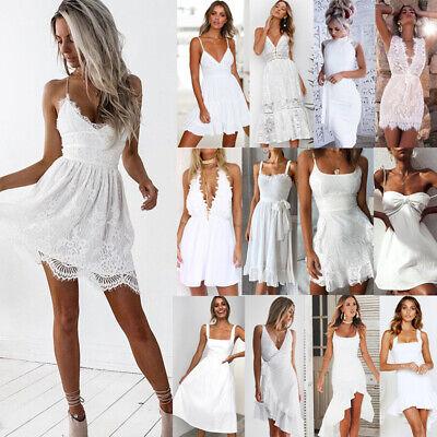 Abend Kleid Party Kleid (DE Damen Weiß Spitze Abendkleid Sommerkleid Strand Partykleid Mini Trägerkleid)