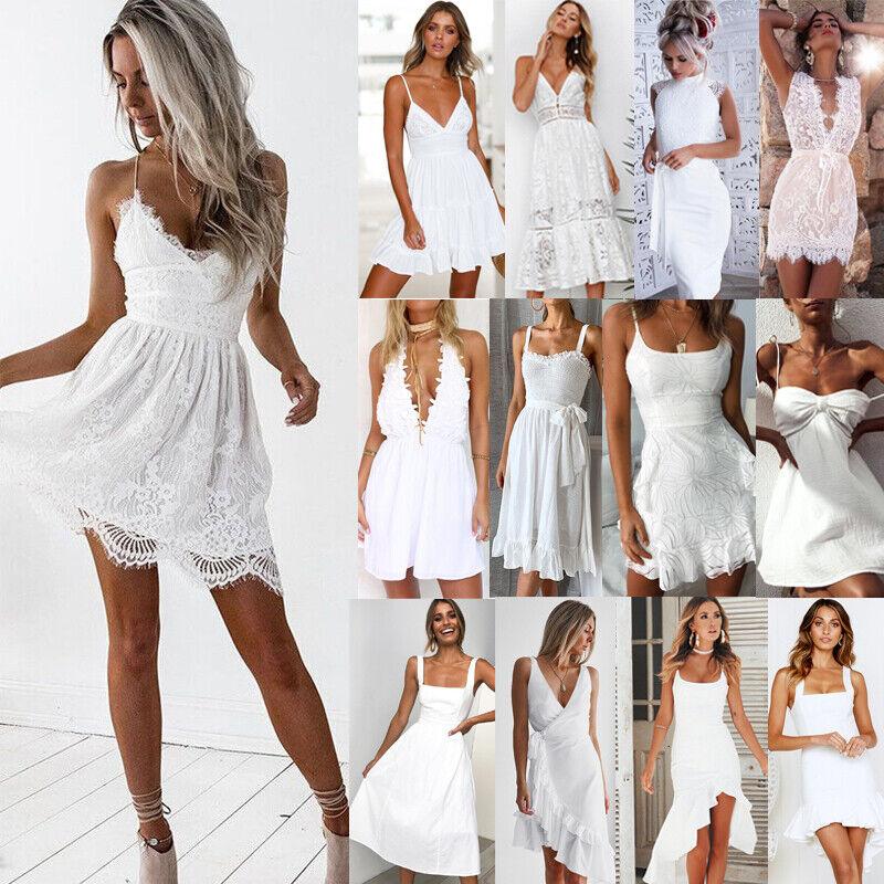 DE Damen Weiß Spitze Abendkleid Sommerkleid Strand Partykleid Mini Trägerkleid