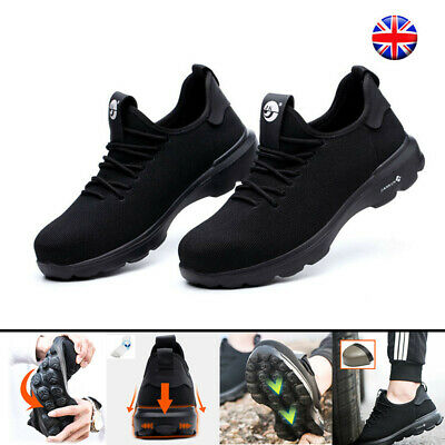 Black Safety Shoes Steel Toe Cap Boots Lightweight Trainers Work Hiking Shoes UK
