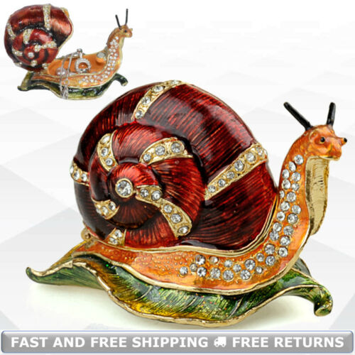 Snail Jewelry Trinket Box With Hinged Lid Enameled Jeweled Crystals Pills Casket