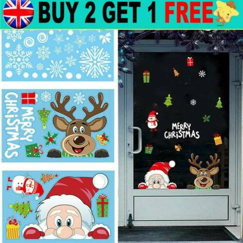 Home Decoration - Christmas Xmas Santa Removable Window Stickers Art Decal Wall Home Shop Decors