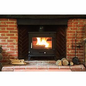 used 12kw multi fuel back boiler stove for 7-9 rads and hot water we also have flexible flue liner