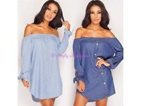 LADIES OFF THE SHOULDER BARDOT BUTTON DRESS