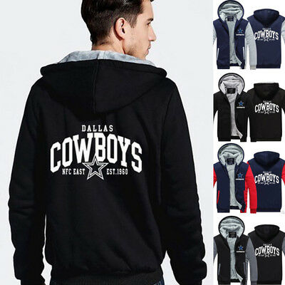 Dallas Cowboys Mens Jackets - NFL Dallas Cowboys Fans Men's Thicken Hoodie Winter Warm Coat Jacket Sweater