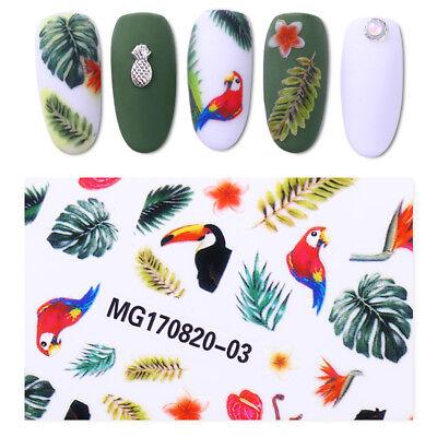 Toucan Tropical Rainforest 3D Nail Stickers Flower Bird Nail Art Transfer Decal