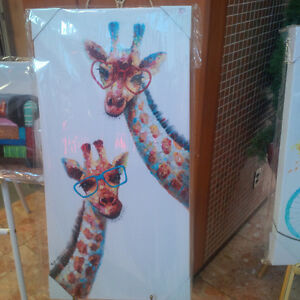 "Canvass Art - ""Love is in the Air-Giraffe"""