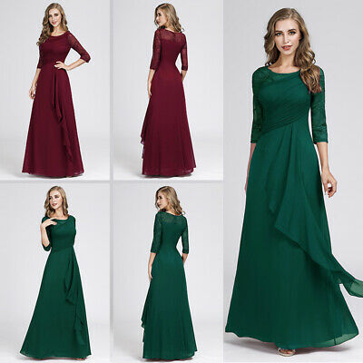 Women Lace Long Formal Evening Party Dresses Chiffon Cocktail Wedding Prom Gowns