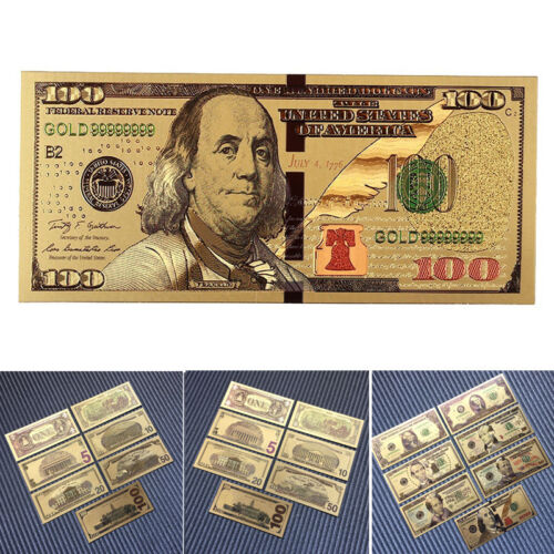 7 PCs/Set Banknotes Antique Ancient Collection Dollars Gold Plated Decoration US
