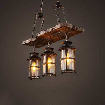 Nautical 3 Lights Glass Lantern Pendant Light Vintage Island Wooden Chandelier