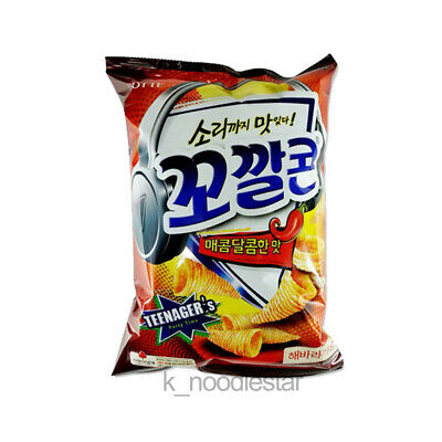 [Lotte] Corn Snack Sweet Spicy Flavor Crispy Sunflower Seed Oil Korean Food 77 g