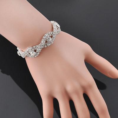 Elegant Women Crystal Rhinestone Infinity Bangle Bracelet Deluxe Jewelry -