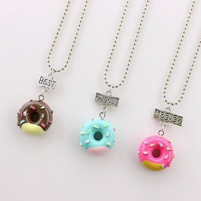 3PCS Kids Best Friends Forever Necklace Donuts Pendant Necklaces For Children