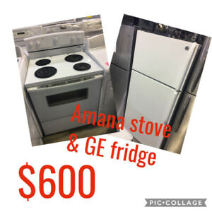 GE fridge Amana coil top white stove white set $600 as ham**