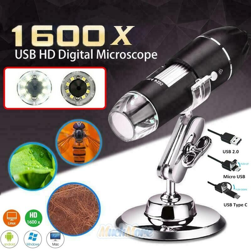 3in1 8LED 1600X 10MP USB Digital Microscope Endoscope Magnifier Camera w/ Stand