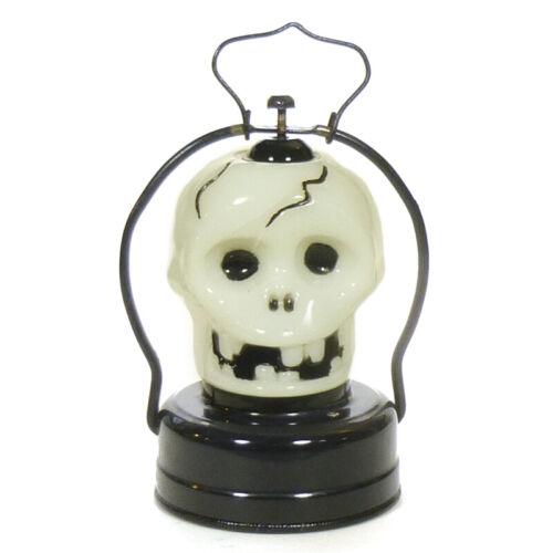 1950s Halloween SKULL RAILROAD LANTERN Tin/Milk Glass