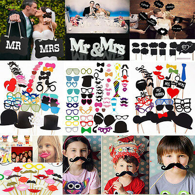 Party Birthday DIY Photo Booth Props Mask On A Stick Mustache Wedding Decoration](Mustache Party)