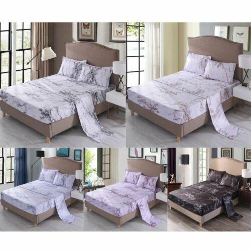 1Set Marble Bedspread Sheet Pillowcase Mattress Cover Beddin