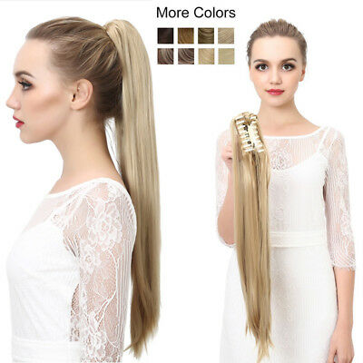 Women Synthetic Claw Clip Ponytail Long Straight Thick Pony Tail Hair Extensions ()