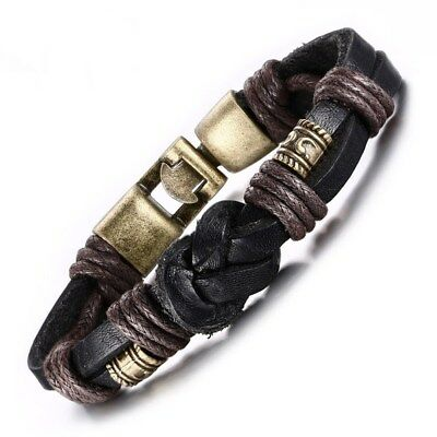 (Vintage Leather Bracelet Bronze alloy Buckle Classical Style Easy Hook For Men)