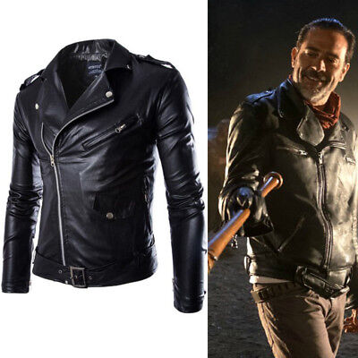 US Ship! The Walking Dead Negan Black PU Jacket Coat Mens Halloween Cos Costume