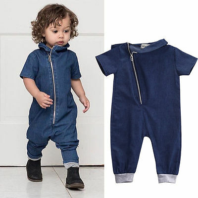 Blue Jeans Clothes - US Toddler Kids Baby Boy Girl Blue Jeans Jumpsuit Romper Jumpsuit Clothes Outfit