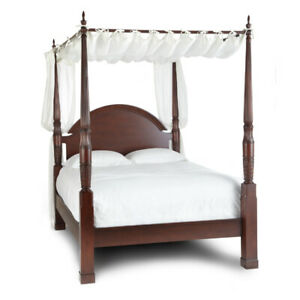 MAHOGANY FOUR POSTER CANOPY BED - QUEEN