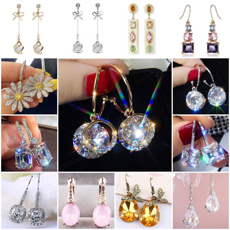 Elegant 925 Silver Drop Earrings Women Sapphire Wedding Engagement Jewelry Gifts