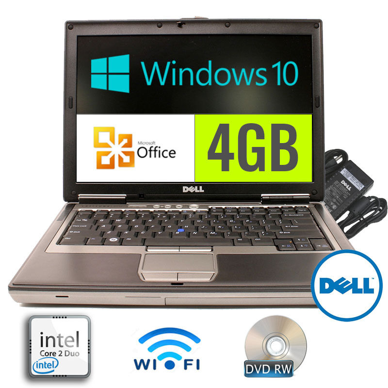 Dell Laptop Latitude Windows 10 4GB DVDRW Core2Duo OFFICE GOOD Battery WiFi #500