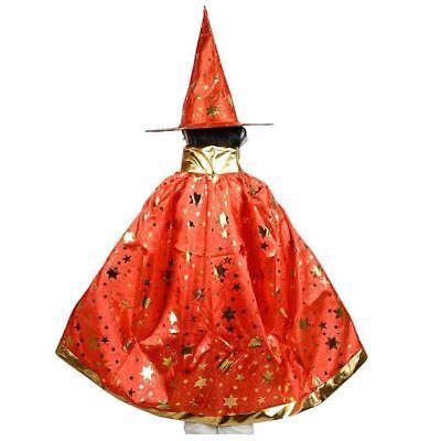 Halloween Kostueme Hexe Zauberer Umhang Mit Hut Fuer Kinder Jungen Maedchen X9I9