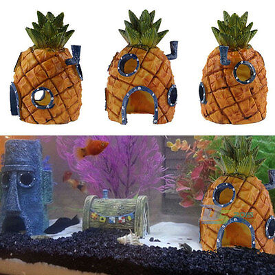 Cute Aquarium Decoration Pineapple House Home Hole For Fish Tank Resin Ornament