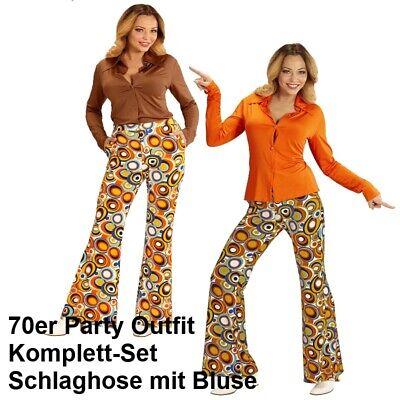 70er Jahre Damen SCHLAGHOSE + Bluse - bubbles Kostüm Disco Hippie Schlagermove