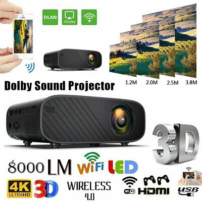 WiFi Wireless Home Theater 4K 3D LED Smart Projector Android 6.0 BT 1080P HD 8GB