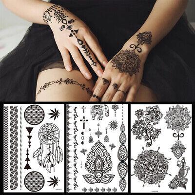 Women Men Black Sticker Henna Lace Temporary Tattoo Body Stickers Fashion DIY
