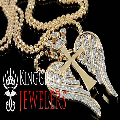 Diamond Crown Charm - Mens Cross Wings Pendant 10K Rose Gold Silver Round Pave Crown Charm Lab Diamond