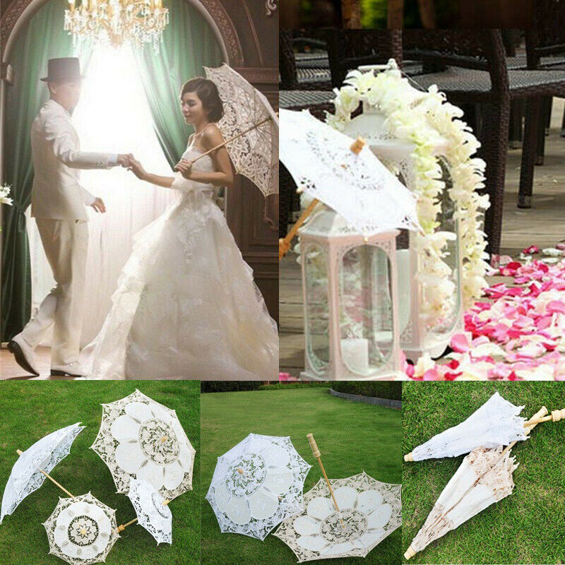 Fashion Wedding Party Lace Umbrella Parasol Bridal Photography Props White Beige