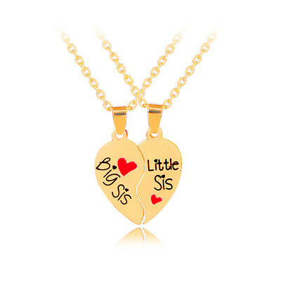 Big/Little Sister Heart Gold necklace pendants,Best Christmas gifts for - Big Christmas Gifts
