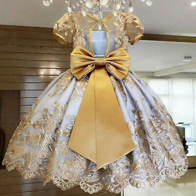 Girl Dresses For Weddings (Baby Girl Lace Bow Flower Party Dress Wedding Gown Royal Princess Girls)