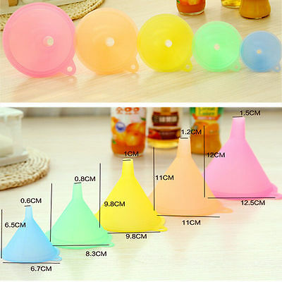 5 PCS Colorful Plastic Funnel Small Medium Large Variety Liquid Oil Kitchen Set