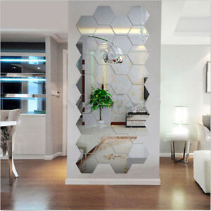 Useful Adhesive 3D Silver Mirror Acrylic Home Living Room Decal Wall Sticker