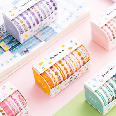 Blue Washi Tape (Set of 10 Rolls- Washi Tape Color Collections -Yellow Green Blue Pink Purple)