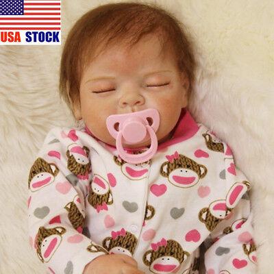 "22"" Handmade Newborn Baby Lifelike Reborn Girl Doll Sleeping Silicone Vinyl Gift"